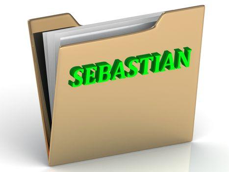 SEBASTIAN- bright green letters on gold paperwork folder on a white background
