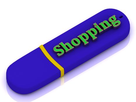 Shopping - inscription bright green volume letter on blue USB flash drive on white background
