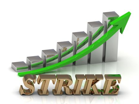 STRIKE- inscription of gold letters and Graphic growth and gold arrows on white background