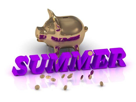 SUMMER- inscription of green letters and gold Piggy on white background