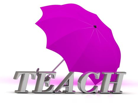 TEACH- inscription of silver letters and umbrella on white background