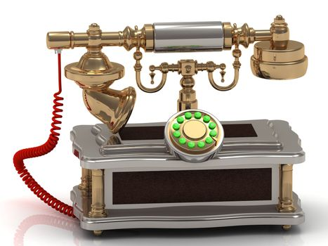 Gold Vintage old telephone with binoculars and red cable conceptual still life on white background