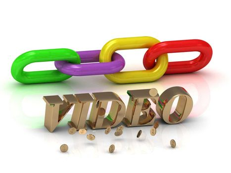 VIDEO- inscription of bright letters and color chain on white background