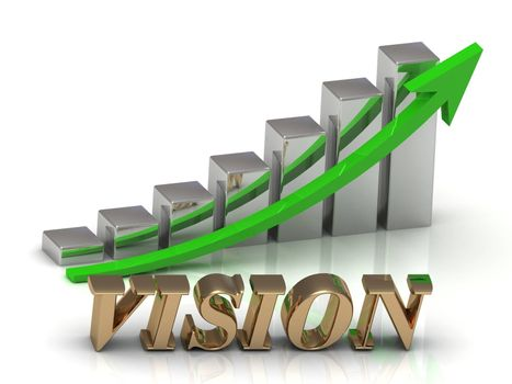 VISION- inscription of gold letters and Graphic growth and gold arrows on white background