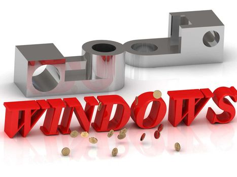 WINDOWS- inscription of red letters and silver details on white background