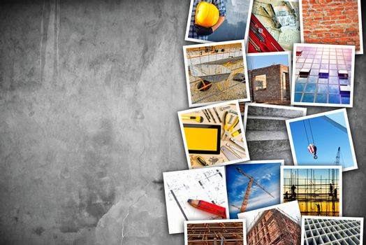 Construction industry themed photo collage