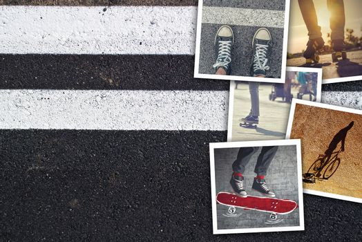 Youth lifestyle collage, snapshot photos of young urban people enjoying life on asphalt sidewalk background as copy space.