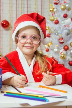 Girl Christmas gnome drawing card for Christmas