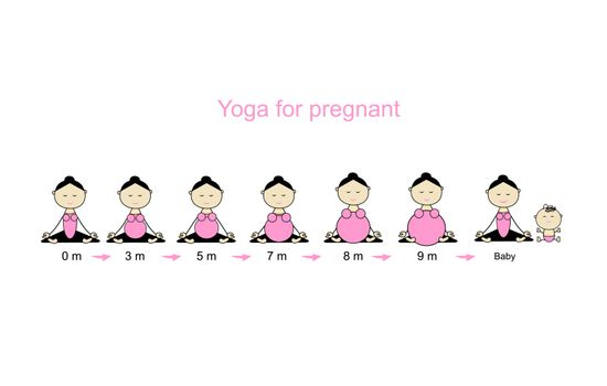 Stages of pregnancy, woman in lotus pose for your design. Vector illustration