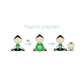 Pregnant yoga, women group for your design. Vector illustration
