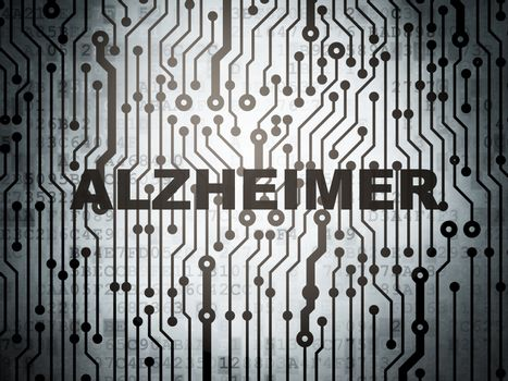 Health concept: circuit board with Alzheimer
