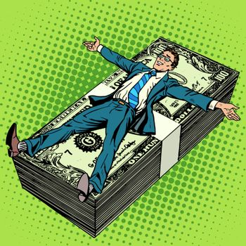 Business financial success concept businessman at the stack of money pop art retro style. The salary of the joy of work. Financial success