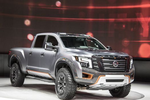 DETROIT - JANUARY 17 :The 2017 Nissan Titan Pickup truck at The
