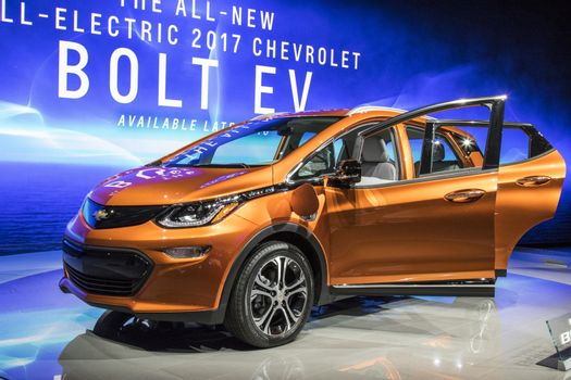 DETROIT - JANUARY 17 :The 2017 Chevrolet Bolt EV at The North Am