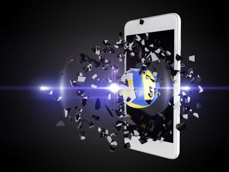 volleyball burst out of the smartphone