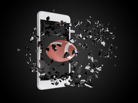 football burst out of the smartphone