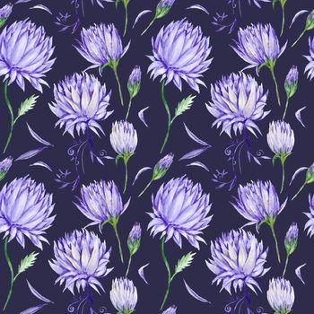 Dark Romantic Pattern with Purple Flowers
