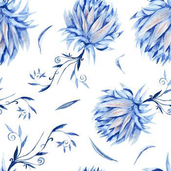 Indigo Floral Watercolor Pattern