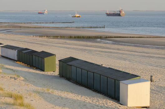 Beach huts on a beach in Zeeland