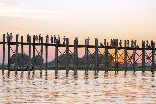U Bein bridge in Mandalay Myanmar at sunset