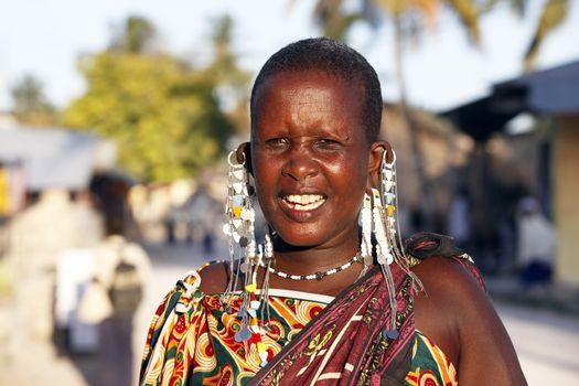 Nungwi, Zanzibar, Tanzania - January 5, 2016: Portrait of an unknown maasai woman with traditional jevellery