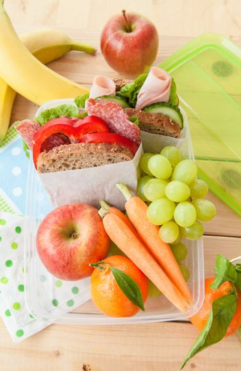 Lunch box with sandwiches