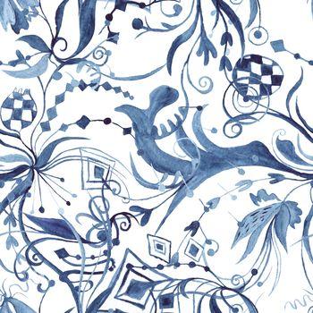 Abstract Watercolor Indigo Pattern