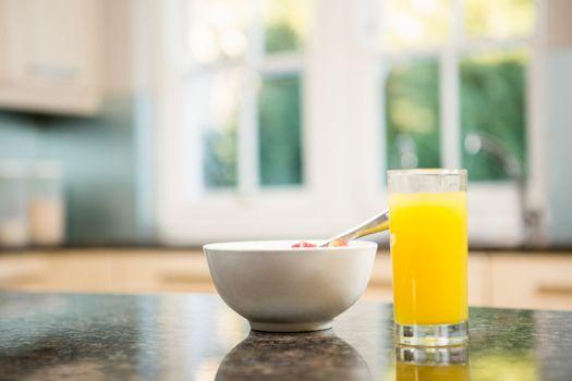 Breakfast on kitchen counter
