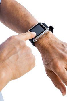 Close up of a smartwatch on a wrist