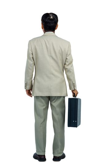Back turned businessman holding a briefcase