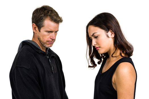 Irritated couple not talking after argument