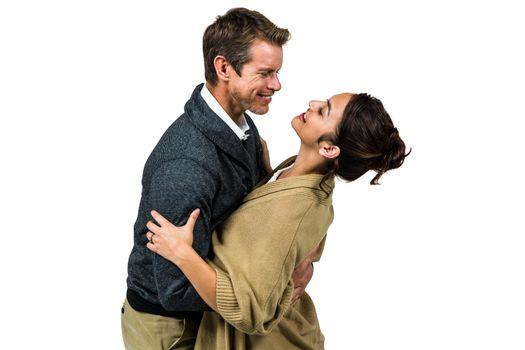 Happy romantic couple hugging