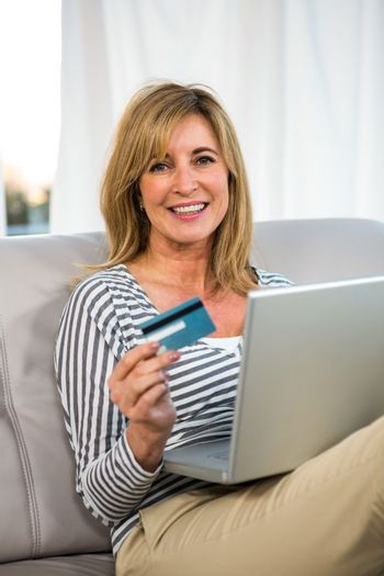 Woman paying on internet