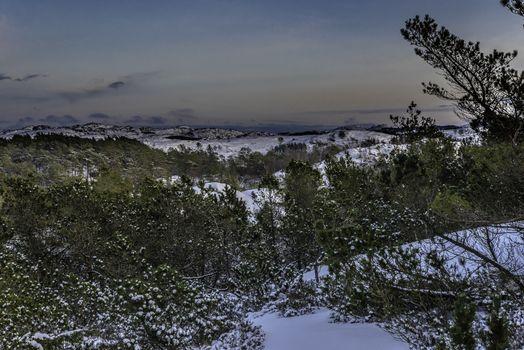 Utsikt mot Koldal og Skåra i Eigersund en vinterdag.