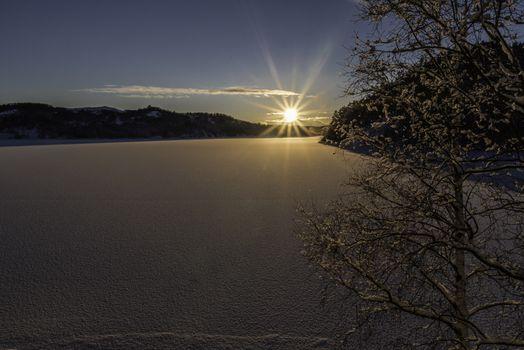Solnedgang over Eiavatnet.