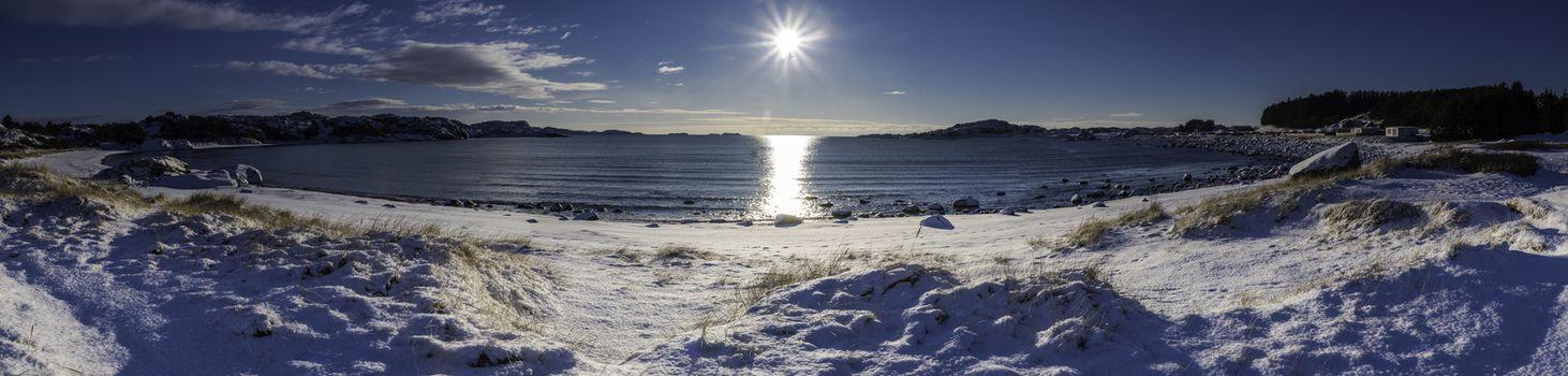 Panorama av Skadbergsanden en vinterdag.