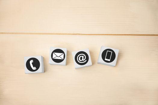 Communication apps against white tiles on table