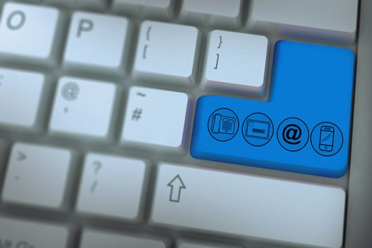 Communication apps against pink enter key on keyboard
