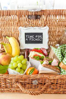 Filled picnic basket