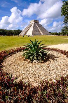 Landscape view of famous Chichen Itza pyramid
