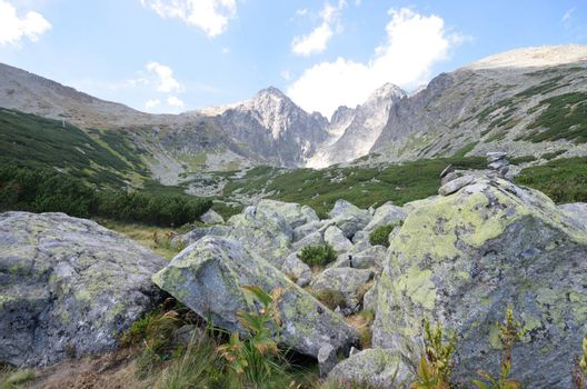 Tatra Mountains with rocks close  in foreground  Lomnicky stit