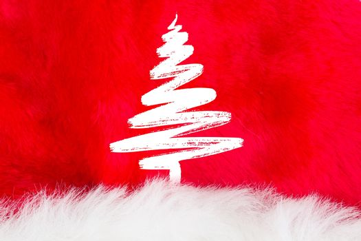 christmas tree hand draw on red and white fur