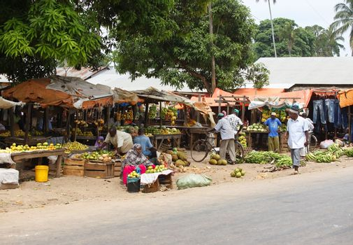 Nungwi, Zanzibar, Tanzania - January 10, 2016: The traditional market of fruits and vegetables in a rural part of the island of Zanzibar