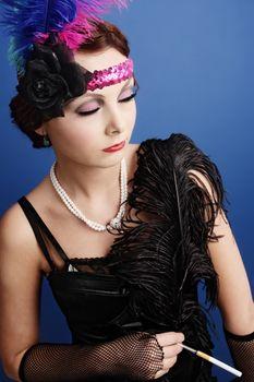 Beautiful woman in twenties style