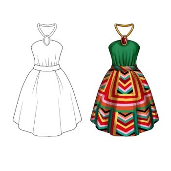 Flat Fashion Template Illustration - Party dress with collar tie and wide skirt in printed geometrical fabric