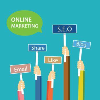 online marketing concept flat design