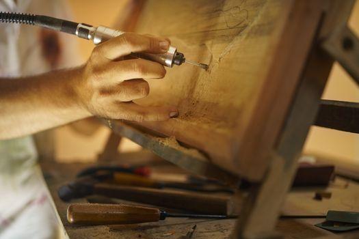 Sculptor Painter Artist Chiseling A Wooden Bas Relief-2