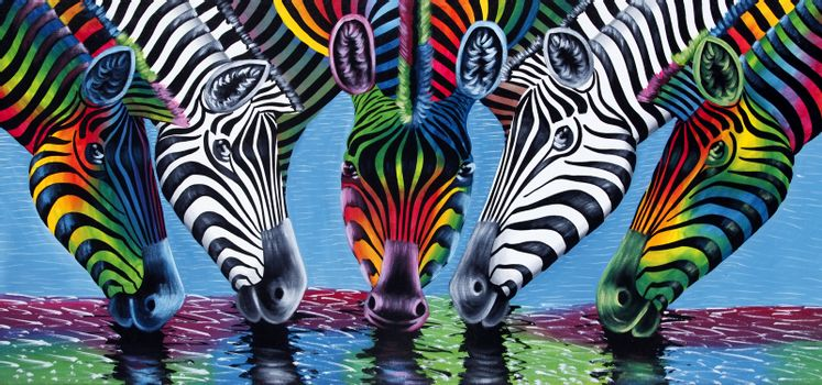 Stone Town, Zanzibar, Tanzania - January 10, 2016: painting of zebras at a watering place for tourists in Stone Town, Zanzibar, Tanzania, East Africa.