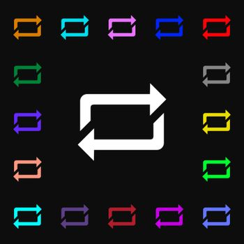 repeat icon sign. Lots of colorful symbols for your design. Vector