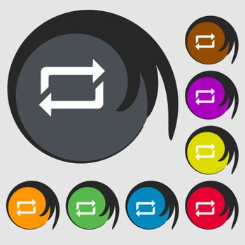 repeat icon. Symbols on eight colored buttons. Vector